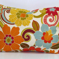 Pillow.12x16 or 12x18 inch.Housewares.Pillows.Flowers.Home Decor.Floral Slipcovers.Turquoise.Orange,Green.Yellow