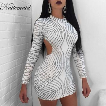NATTEMAID Autumn O Neck Long Sleeve Short Dresses Sexy Backless Party Night Club Mini Sequin Dress Women Bodycon Clubwear