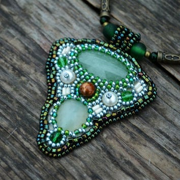 Aventurine necklace Embroidered pendant Beaded green pendant Beadwork green necklace Bead embroidery necklace Seed bead necklace Boho neck
