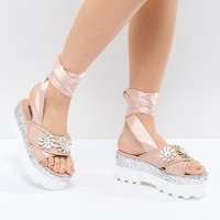 Lost Ink Pink Flatform Glitter Sandals at asos.com