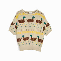 Vintage 80s Duck Duck Goose Sweater / Short Sleeve Sweater / Tacky Sweater - women's large