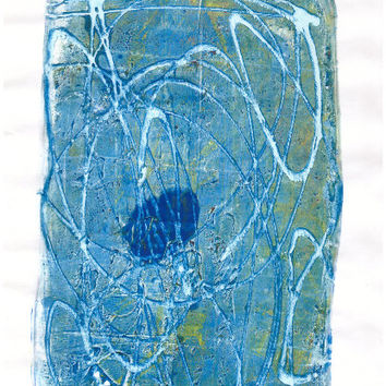 REDUCED Blue Spot monotype handpulled from a homemade gelatin plate using acrylic paints and ink. Abstract original art print. Perfect gift.