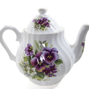 Staffordshire Collection English Pansy Fine Bone China Teapot