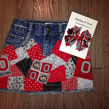 Ohio State University Buckeyes Art Deco Decoupage Patch Denim Skirt Custom Made to Order Toddler and Girls sizes and M2M Hairbow