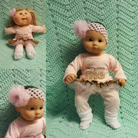 "Baby Doll Clothes ""Mommy Adores Me"" (15 inch) doll outfit Will fit Bitty Baby® Bitty Twins®  dress leggings socks headband  N8"