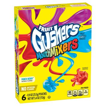 Betty Crocker Fruit Gushers Mouth Mixers Punch Berry Fruit Flavored Snacks - 6pk