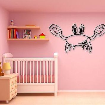 Wall Stickers Vinyl Decal Cheerful Crab Marine Decor for Kids Room Unique Gift (ig774)