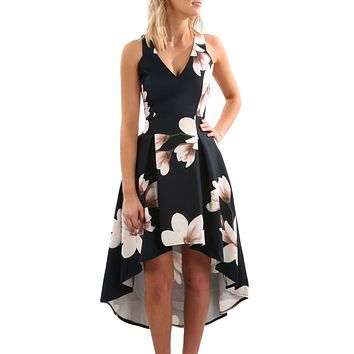 White Floral High Low Hem Sleeveless Midi Dress