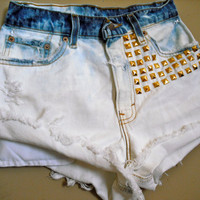 SALE: High Waisted Levi Shorts - Studded Hipster Distressed