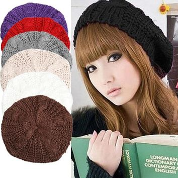 Women Knitted Baggy Beanie (6 colors)