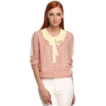 Women Fashion Casual Doll Collar Puff Long Sleeve Polka Dot Bow Chiffon Blouse