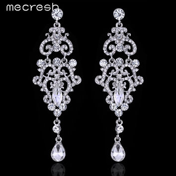 Mecresh Crystal Chandelier Long Earrings Silver Plated Rhinestone Big Hanging Dangle Earrings Wedding Engagement Jewelry EH189
