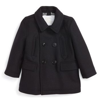 Burberry 'Mini Maltley' Double Breasted Peacoat (Baby Boys) | Nordstrom