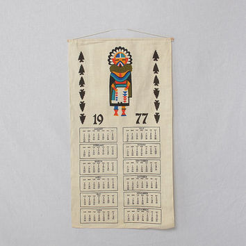 Vintage 1977 Hand Screened Indian Kachina Doll Fabric Calendar 70s Wall Hanging Western Art Kitsch Hippie Southwestern Arrowheads Home Decor