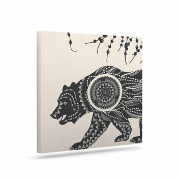 "Famenxt ""Boho Ornate Bear"" Beige Black Canvas Art"