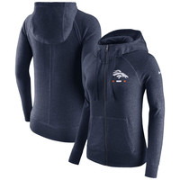 Women's Denver Broncos Nike Navy Gym Vintage Full-Zip Hoodie