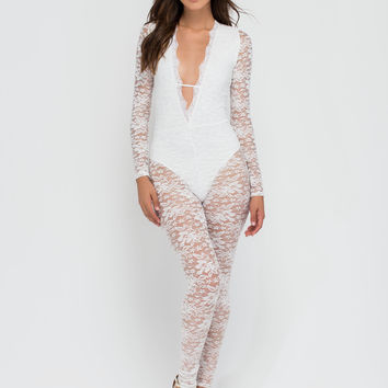 Gimme Some Lace Plunging Jumpsuit