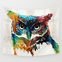 Colorful Owl Art - Wise Guy - By Sharon Cummings Wall Tapestry by Sharon Cummings