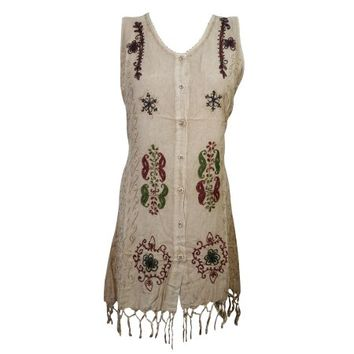 Mogul Womens Stonewashed Sleeveless Dress Button Front Embroidered Tassel Hem Tie Back Summer Tank Dresses - Walmart.com