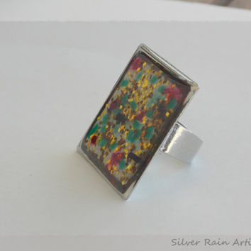 Ring - Glass ring - Square ring - Resin ring - gold dust ring -Image ring - Abstract ring - Big ring - silver ring