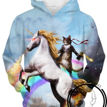 Cat Riding A Rainbow Unicorn Hoodie - Pullover 3D Hoodie