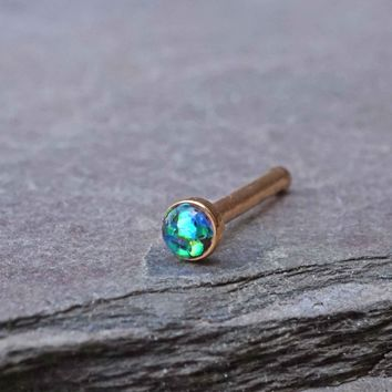Black Opal Rose Gold Nose Bone Gold Nose Stud Nose Ring