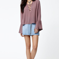 Kendall and Kylie Lace-Up Long Bell Sleeve Top at PacSun.com