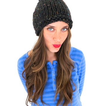 Chunky Soft Knit Pom Pom Hat // Schoolboy Hat in Vegan Blend Wild Child // Many Colors and Vegan Options Available