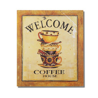 "Decorative Wood Wall Hanging Sign Plaque ""Welcome: Coffee House"" Gold"