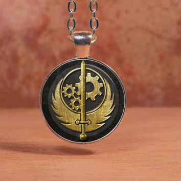 Fallout Brotherhood of Steel Glass Art Pendant Necklace