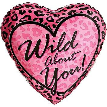 Wild About You Foil Balloon with Pink Leopard Print - 18""