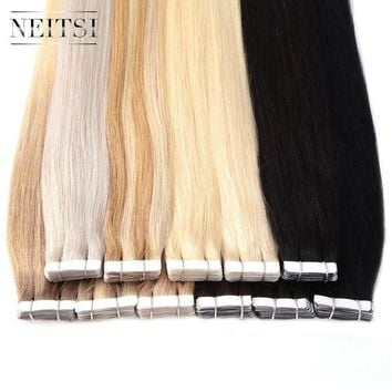 LMF78W Neitsi Brazilian Straight Skin Weft Hair Tape In None Remy Human Hair Extensions 22' 2.2g/s 40pcs 14 Colors Adhesive Tape Hair