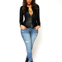 Sexy Long Sleeves Textured Black Faux Leather Jacket