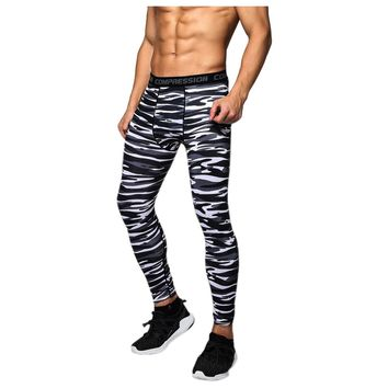 2018  new  Men Compression Long Pants Running Base Layers Skins Tights Army Camouflage Soccer Joggers Trousers(Stripe black )