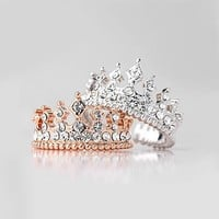Retro Rome Style Queen Crystal Alloy Gold Plated Women Ring ,Two Colors Available