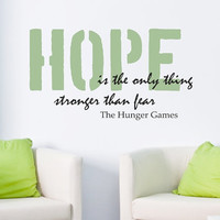 Wall Decal - Hunger Games HOPE - Wall vinyl sayings - Home Decor