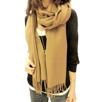 ESBU3C Hot Selling Comfortable foulard Women Classical Solid Color Girl's New Casual Shawls Warm Soft Scarf with Tassel All-match