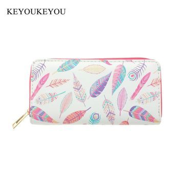KEYOUKEYOU Pu Leather Long Wallet Zip Around Cartoon Feather Print Women Wallet Ladies Credit Card Holder Clutch Bag Money Purse