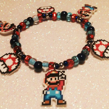 Super Mario Charm Bracelet with Mushroom Super Mario World SNES Power Up Luigi Peach Daisy Nerd Nintendo Kart 8bit Classic pixel gamer retro