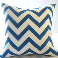 Blue chevron pillow cover with off white accents, all sizes available, 16x16,18x18, 20x20, 22x22, 24x24
