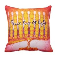 """Peace, Love & Light"" Red Hanukkah Menorah Photo Throw Pillow"