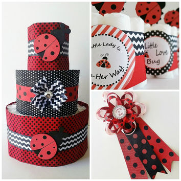 Ladybug Baby Shower Decor, Lady bug Mommy to be Corsage, Ladybug diaper cake, Mini diaper cake table centerpieces, Baby girl shower decor
