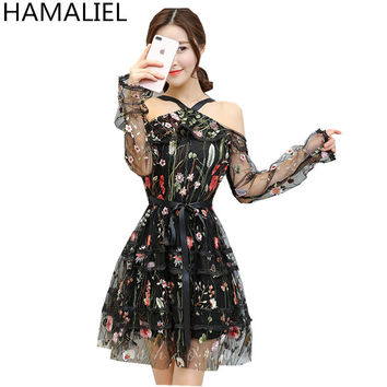 HAMALIEL 2017 Summer Women Sexy Dress Runway Off Shoulder Embroidery Mesh Backless Long Sleeve Ruffles Halter Neck Beach Dress