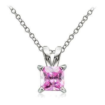 925 Sterling Silver 2ct Light Pink Cubic Zirconia 7mm Square Solitaire Necklace
