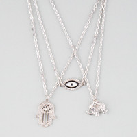 Full Tilt 3 Piece Eye/Hamsa Hand/Elephant Necklaces Silver One Size For Women 25145214001