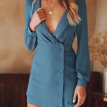 Blue V-neck Button Placket Front Long Sleeve Chic Women Mini Dress