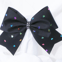 Cheer bow-black with holographic multi colored hearts and rhinestone center-cheerleading bow-cheerleader bow-dance bow-cheerbow-softball bow