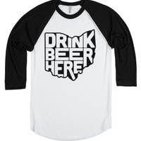 Drink Beer Here (Ohio Outline)-Unisex White/Black T-Shirt
