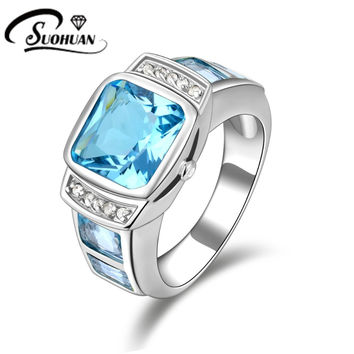 Fashion man jewelry Blue Aquamarine Sapphire rings Cz 18K white Gold Filled Anniversary Ring for men Gift Size8,9,10,11R058