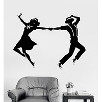 Vinyl Wall Decal Swing Dance Couple Room Art Stickers Mural Unique Gift (ig3479)